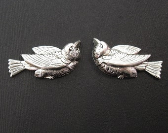 2 Birds Ox Silver Brass  Stamping Jewelry Findings Jewelry Ornament no Hole.