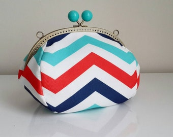 Chewron clutch bag / Handbag /Gift for women