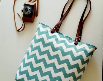 Turquoise  Chevron / Zigzag   shoulder bag  ,Beach bag  ,Summer bag  Student Backpack,travel  Backpack/Travel,School,Daily bag /
