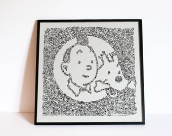 Tintin and Snowy - Doodle drawing - Open Edition Print  from a hand made drawing - based on the tintin adventures