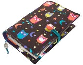 Handmade Large Bible Cover or Book Cover, NIGHT OWLS fabric, Custom Size available, UK Seller