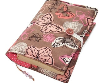 Handmade Bible Cover, Fabric Book Cover, Butterflies and Roses, Padded Book Sleeve, Paperback or Hardback Cover, UK Seller