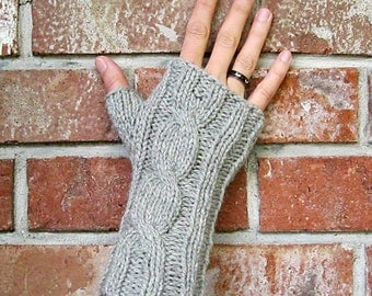 Cabled Fingerless Gloves-Hand Knit