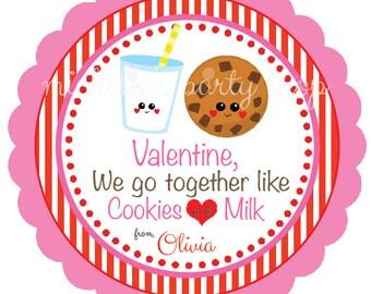 PRINTABLE,  Cookies and Milk Valentine Favor Tags
