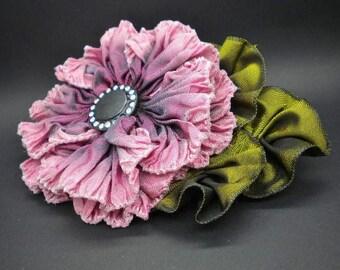 Pink Burgundy Ruffled Ribbon flower Applique Vintage Button