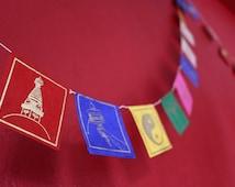 Buddha Eyes-Wisdom Eyes auspicious symbol mixed Prayer Flags made of Lokta Paper-Handmade by NepaCrafts-PF-090