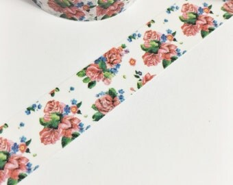 Gorgeous Red Green Blue Floral Vintage Roses Red Flowers Washi Tape 11 yards 10 meters 15mm
