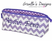 Personalized Pencil case, Custom made Pencil Pouch, monogram women gift, gift for students, Teacher's gift idea.