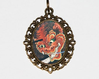 Dragon Necklace, The Evil Spirit, Japanese Art, Woodblock Print, Samurai, Ukiyo-e Jewelry, Dragons, Oval Pendant