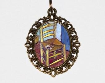 Van Gogh's Chair Necklace, Vincent Van Gogh, Fine Art Jewelry, Oval Pendant