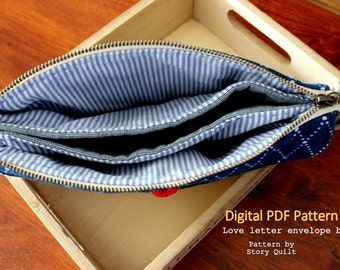Handbag pattern | multiple pockets | pdf sewing pattern | tutorial |  Wallet sewing pattern |  clutch pattern | zipper bag Pattern