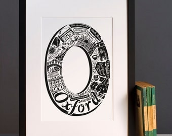 Oxford print or greeting card     - Graduation gift - University town - Typographic art - Oxford poster - Oxford artwork