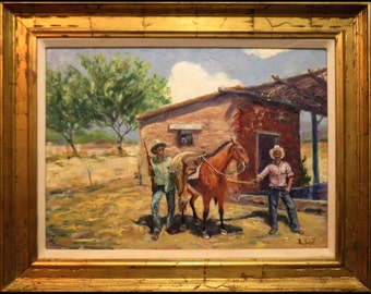 Art  SALE Painting Impressionism FRAMED Signed  Wm HAWKINS  Oil original Cowboy art on Canvas