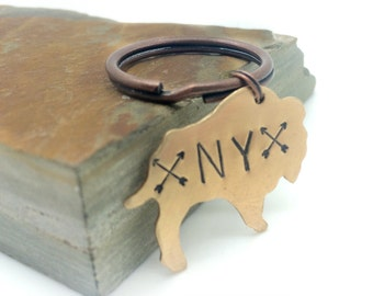 buffalo new york, buffalo ny key chain, state keychain, hand stamped bronze bison, New york state, arrows
