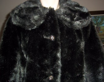 Vintage faux mink fur Coat, deep chocolate brown 50s 60s, leather facing, Mar-Del by Rice Size 14..Reduced..Was 44.99