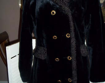 Vintage faux fur black Coat curly lamb collar cuffs, back belted double breasted size womens size 10-12..Reduced..WAS 29.99