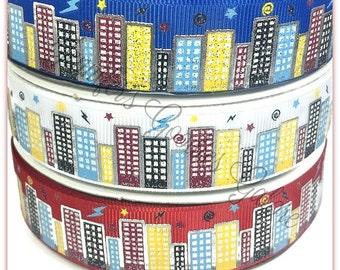 "7/8"", Super Hero City Ribbon, US Designer Ribbon, 7/8"" Glitter Ribbon, Super Hero, Hero Ribbon, City, Sky-rise, Hair Bow Supply"
