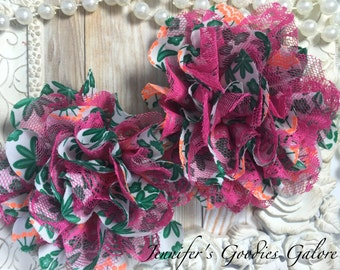 Floral Print Chiffon Flowers with Pink lace Set of 2 Gorgeous Shabby Chic Frayed Chiffon and Lace Rose Flowers- 3.5 inch