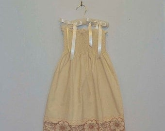 Sale Vintage Lace Flower Girl Dress... ivory and rose lace... Eco-friendly...6m,9m,12m,18m,2t,3t,4t,57