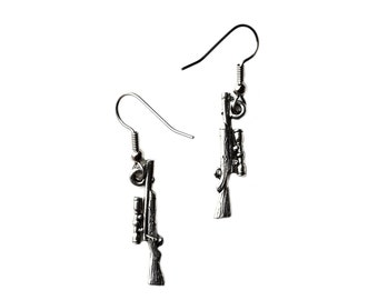 Rifle Earrings - Accessories - Women's Jewelry - Gift Idea - Handmade - Gift Box Included
