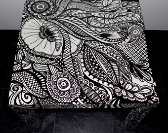 Hand Painted Black and White Zentangle 20 x 20 Table, Organic Nature BW Original Art Accent Piece