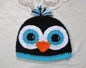 Black and Turquoise Crochet Penguin Beanie Style Hat - Photo Prop - Available in Any Size or Color Combination