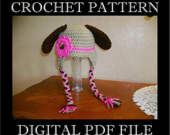 PDF PATTERN - Puppy Dog with Flower and Bow Crochet Hat Pattern