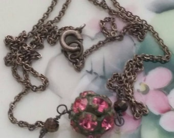 Sold..Reserved...TINY PINK RHINESTONE ball Minimalist vintage antique assemblage necklace