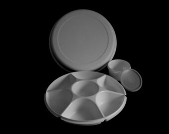 Complete Tupperware Divided Relish Dip Veggie Serving Tray - Almond or White 1665 1666 1667 215 Complete Set