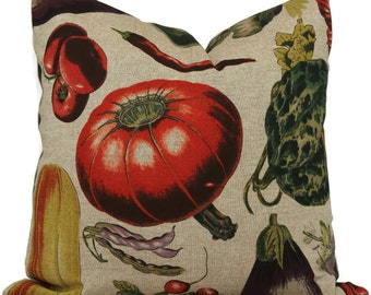 Vegetable Garden Decorative Pillow Cover 22x22 toss pillow, accent pillow, throw pillow, botanical pillow cover