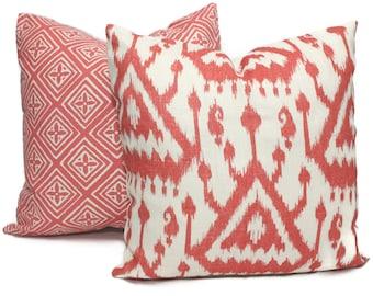 Schumacher Coral Vientiane Ikat Decorative Pillow Covers Lumbar Pillow - Toss pillow, Accent pillow