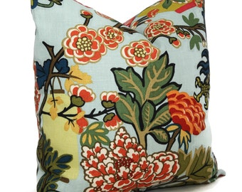 Aqua Schumacher Chiang Mai Dragon Pillow Covers 18x18, 20x20 or 22x22  or Lumbar Pillow Made to order pillow cover