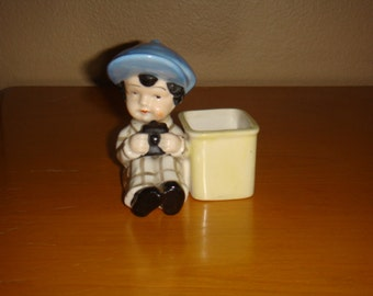 Vintage Figurine Boy with Camera Figurine Trinket Box Vase Japan Marked