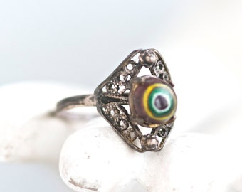 Dark Filigree Boho Ring - Vintage Hippie Ring with Patina - Size 6.5