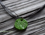 4 Strand Shamrock Necklace / Glazed Essential Oil Diffuser  / Choice of Color / Handmade