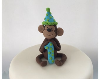 Fondant Monkey cake topper with party hat and age number by Cupcake Stylist on Etsy