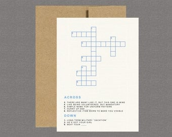 Military Greeting Card - Crossword - Care Package, Deployment, Basic Training, Boot Camp, Military Card