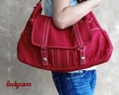 Winter Sale 15%off ASTER // Red / Lined with Beige / 013 // Ship in 3 days // Messenger / Diaper bag / Shoulder bag / Tote / Canvas Bag