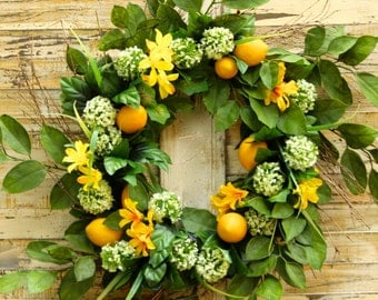Large Lemon Summer Door Wreath - Lemon Floral Wreath - Summer Door Decor