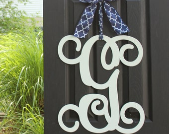 Monogram Door Decor - Choose Letter Color - Choose Ribbon - Initial Wreath