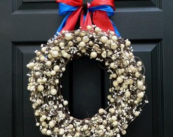 Patriotic Wreath - Memorial Day Wreath -Red White and Blue Wreath - All Season Wreath