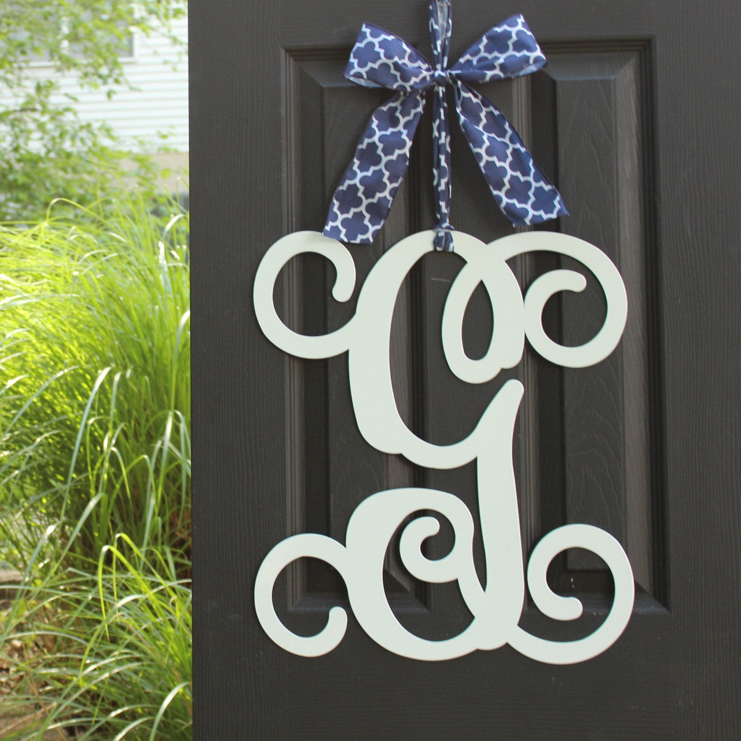 Monogram Front Door Decoration: Monogram Door Decor Choose Letter Color Choose Ribbon