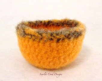 Crochet Bowl, Felted Wool Bowl, Felt Container, Pumpkin Orange and Taupe, Fall Decoration, Fall Gift Container