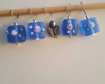 Butterfly and Blue Knitting Stitch markers