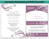 Editable Wedding Invitation Template Set - Purple Wedding Invitation Template - Wedding Invitation Package - Set of 3