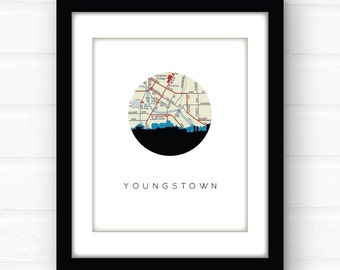 Youngstown, Ohio art print | Ohio home decor | Ohio map art | travel poster | midwest home | Ohio print | Ohio wall art | travel map print