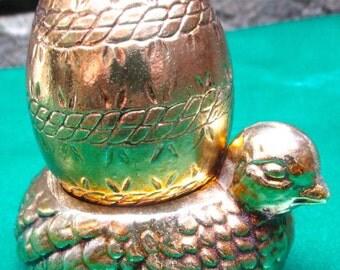 Golden chicken egg holder Vintage decor prize gold color chick hen ornament table decoration lightweight hunt farm unique gift
