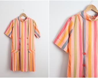 60s Rainbow Dress / Shift Dress /1960s dress / Mod/ Size M/L