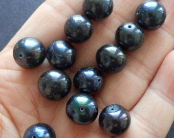 Big 10mm black Pearls-Genuine fresh water Pearl loose beads, 12pcs