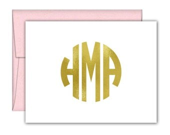 Circle Monogram Foil Note Cards - Monogram Note Cards - Monogram Stationery - Monogrammed Stationery - Personalized Stationery